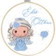 Mintás barkácsfilc - cuki tavaszi angyalka hímzőkeretbe - Édes otthon - kék