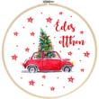 Mintás barkácsfilc - karácsonyi piros autó - édes otthon