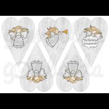 Mintás barkácsfilc - angyalok szürke szívekben - 5db vagy 10db