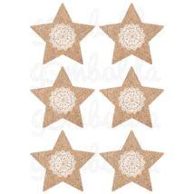 Mintás barkácsfilc - juta csillagok csipke díszítéssel