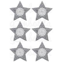 Mintás barkácsfilc - szürke kötött csillagok csipke díszítéssel