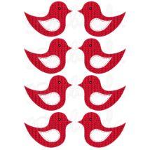 Mintás barkácsfilc - kivágható kötött madarak - piros