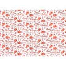 Mintás barkácsfilc - erdei karácsony - piros Merry Christmas feliratok