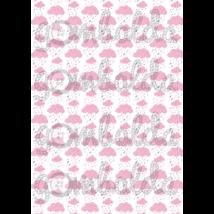 Mintás barkácsfilc - esőfelhők - rózsaszín - 5db vagy 10db