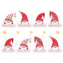 Mintás barkácsfilc - karácsonyi manók feliratokkal