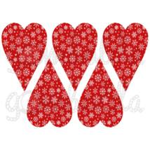 Mintás barkácsfilc - hópelyhes szívek - piros