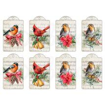Mintás barkácsfilc - tradicionális karácsony - madaras ajándékkísérő