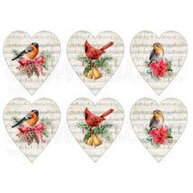 Mintás barkácsfilc - tradicionális karácsony - madarak kottás szívekben