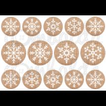 Mintás barkácsfilc - hópelyhek juta körökben - 5db vagy 10db