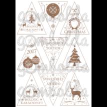 Mintás filc fenyődísz sablon - boldog karácsonyt - barna - 5db vagy 10db