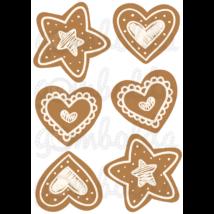 Mintás barkácsfilc - csillag és szív mézeskalács díszek - 5db vagy 10db