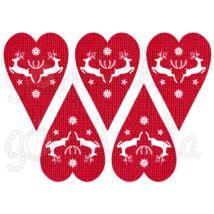 Mintás barkácsfilc - rénszarvasok kötött szívekben - piros