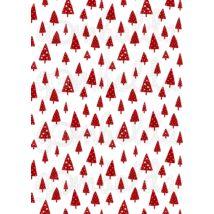 Mintás barkácsfilc - Scandi Christmas piros - csillagos fenyők