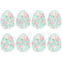 Mintás barkácsfilc - shabby chic rózsás tojások - menta - 5db vagy 10db