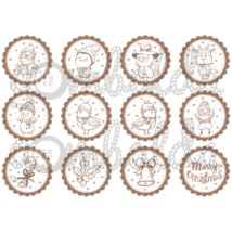 Mintás barkácsfilc - rajzolt karácsonyi figurák - barna - 5db vagy 10db