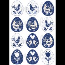 Mintás barkácsfilc - kék fehér tyúkocskák tojásokban - 5db vagy 10db