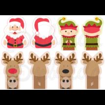 Mintás barkácsfilc - karácsonyi ujjbábok - Mikulással - 5db vagy 10db