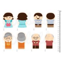 Mintás barkácsfilc - család - szülő nagyszülő ujjbábok
