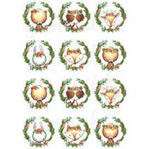 Mintás barkácsfilc - Woodland Animals karácsonyi koszorúkban - pici