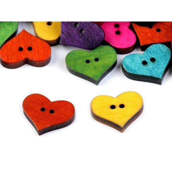 Duci színes szív alakú fa gombok - 100db