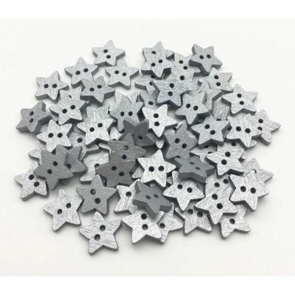 Csillag alakú fa gombcsomag - ezüst - 100db