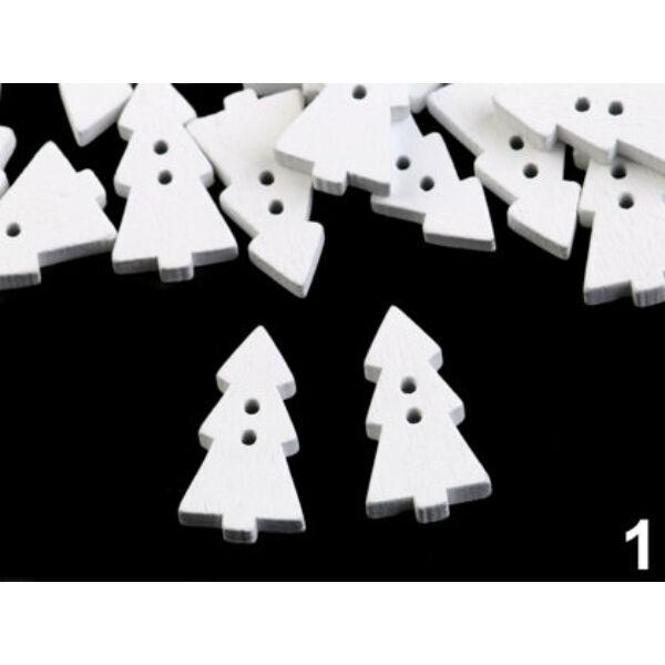 Fehér hosszúkás fenyőfa alakú fa gombok - 100db