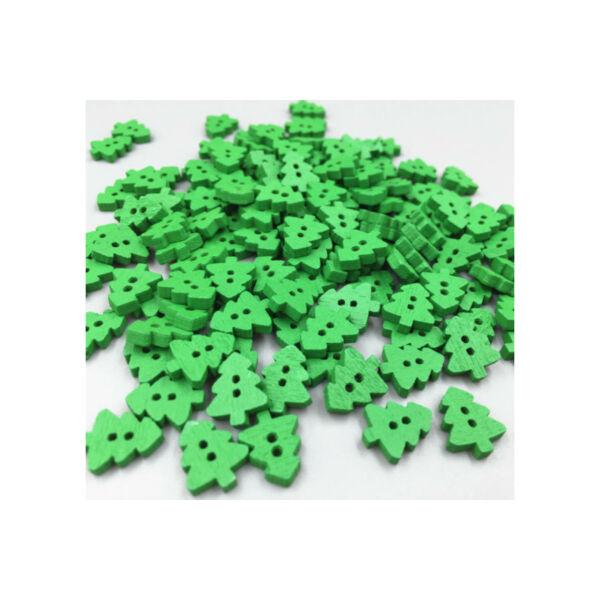 Zöld pici fenyőfa alakú fa gombok - 100db