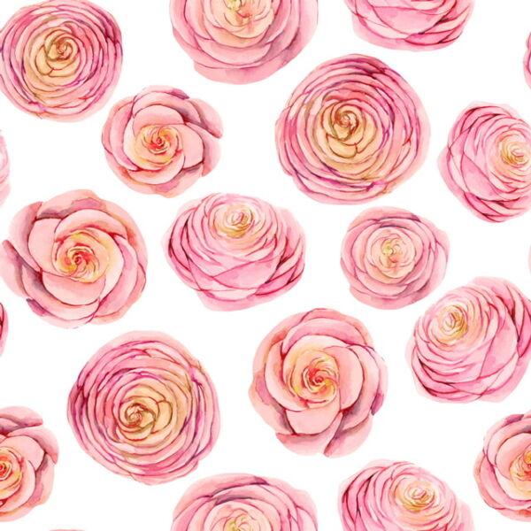 Mintás barkácsfilc méteráru - rózsaszín rózsafejek - 1,8m