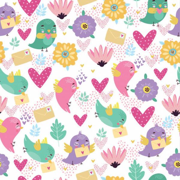 Mintás barkácsfilc méteráru - szerelmes madárkák
