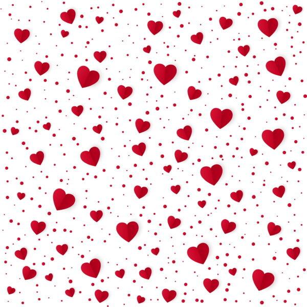 Mintás barkácsfilc méteráru - apró piros szívek - 1,8m