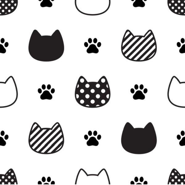 Mintás barkácsfilc méteráru - fekete mintás cica fejek - 1,8m
