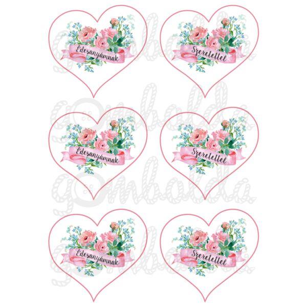 Mintás barkácsfilc - Édesanyámnak szeretettel - szívekben - 5db vagy 10db