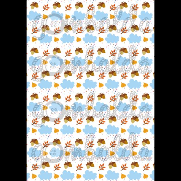 Mintás barkácsfilc - esőfelhők - makkos - 5db vagy 10db