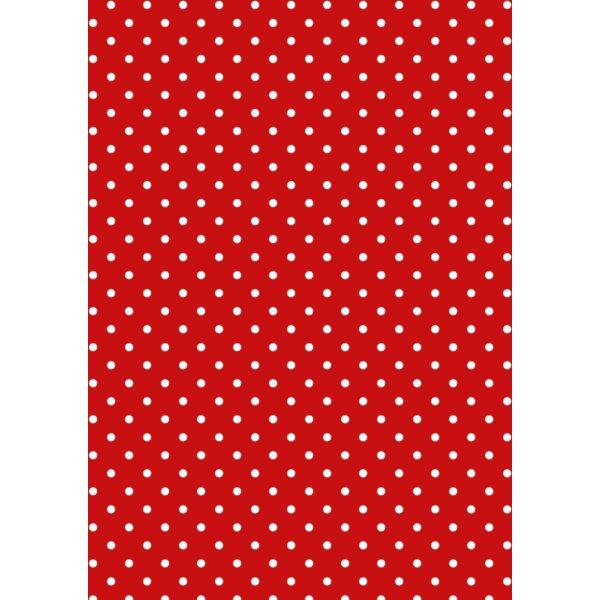 Mintás barkácsfilc - Christmas Basics - piros alapon fehér pöttyös