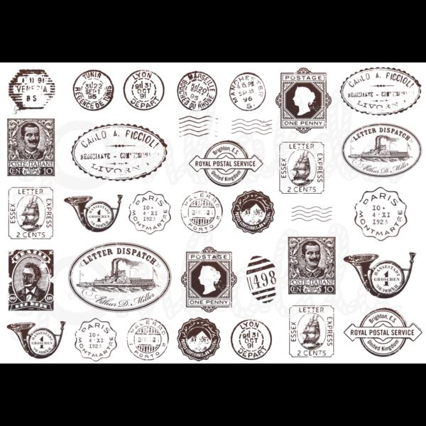 Mintás barkácsfilc - vintage postai pecsétek - 5db vagy 10db