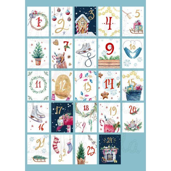 Mintás barkácsfilc - adventi számok - festett karácsony