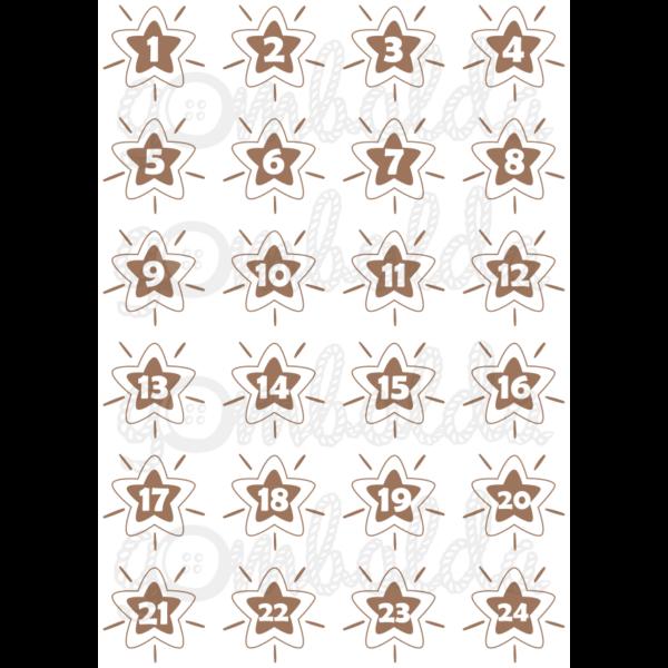 Mintás barkácsfilc - adventi számok csillagokban - barna - 5db vagy 10db