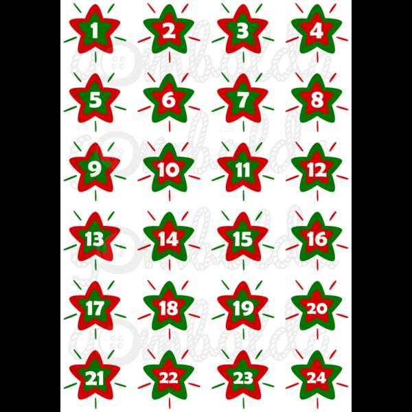 Mintás barkácsfilc - adventi számok csillagokban - piros zöld - 5db vagy 10db