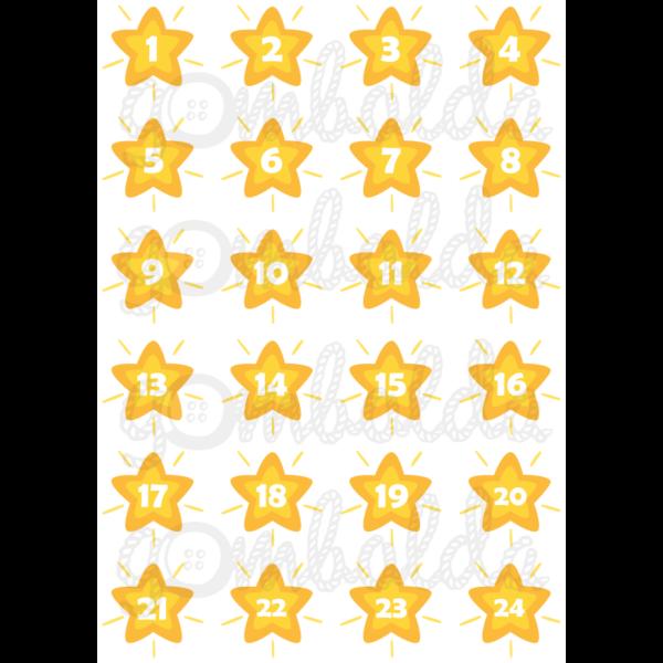 Mintás barkácsfilc - adventi számok csillagokban - sárga - 5db vagy 10db