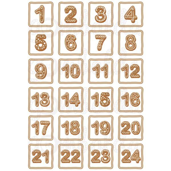 Mintás barkácsfilc - adventi számok - mézeskalács