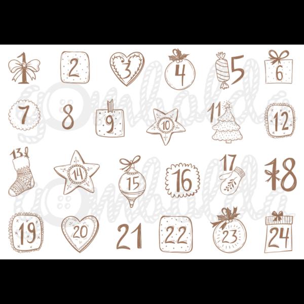 Mintás barkácsfilc - adventi számok vintage stílusban - barna - 5db vagy 10db
