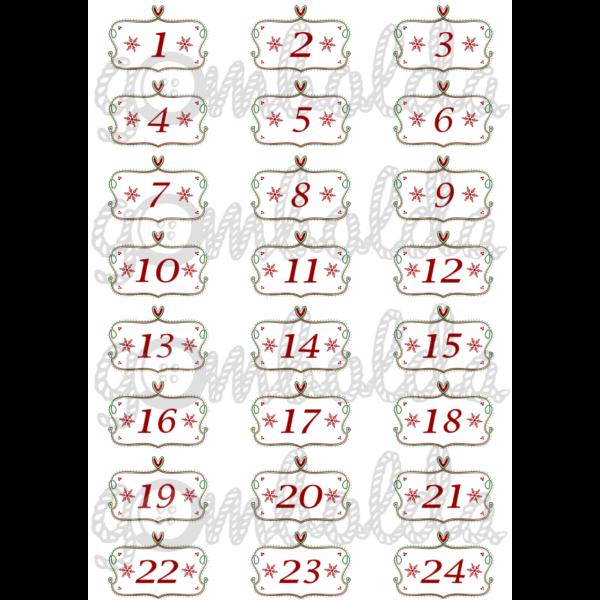 Mintás barkácsfilc - adventi számok díszes keretben  - 5db vagy 10db