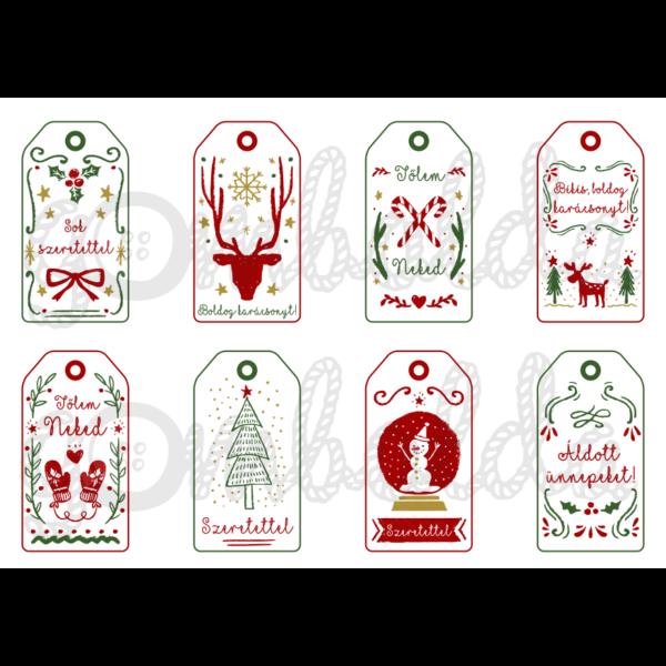 Mintás barkácsfilc - karácsonyi ajándékkísérő kártyák - piros zöld - 5db vagy 10db