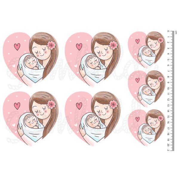 Mintás barkácsfilc - Anya és gyermeke - szív