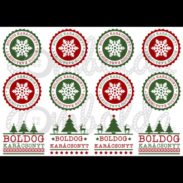 Mintás barkácsfilc - boldog karácsonyt címkék - zöld piros - 5db vagy 10db