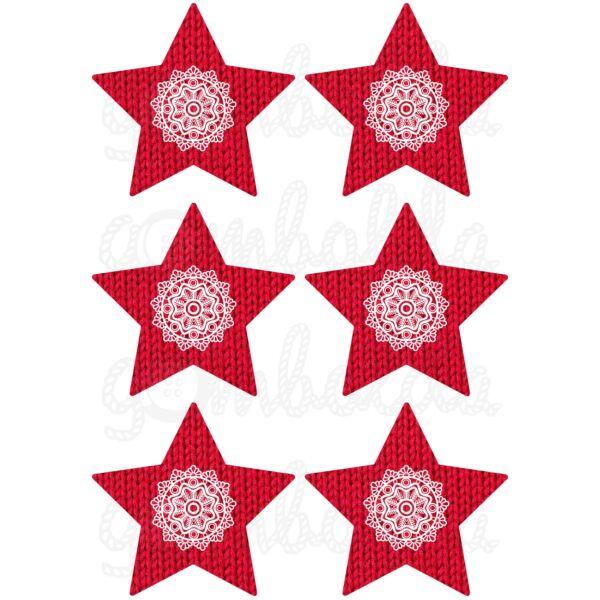 Mintás barkácsfilc - piros kötött csillagok csipke díszítéssel