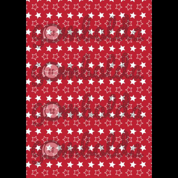 Mintás barkácsfilc - piros alapon fehér csillagok - 5db vagy 10db