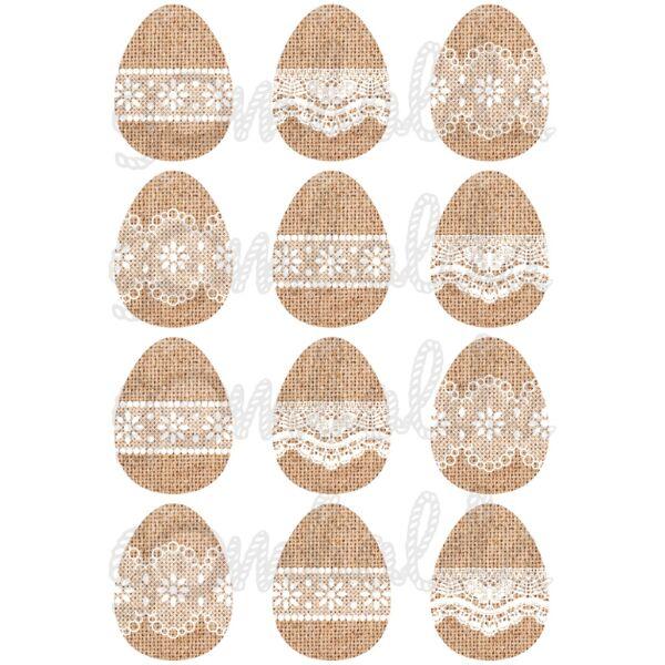 Mintás barkácsfilc - csipkés húsvéti tojások juta alapon - 5db vagy 10db