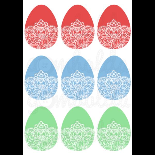 Mintás barkácsfilc - csipkés tojások - 5db vagy 10db