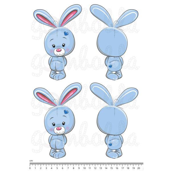Mintás barkácsfilc - cuki állatok - kivágható kék nyuszik - 2 pár